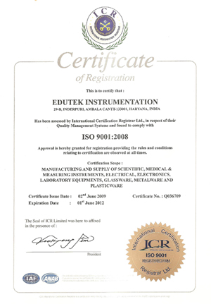 Edutek Instrumentaion ISO 9001:2008 Certified Company